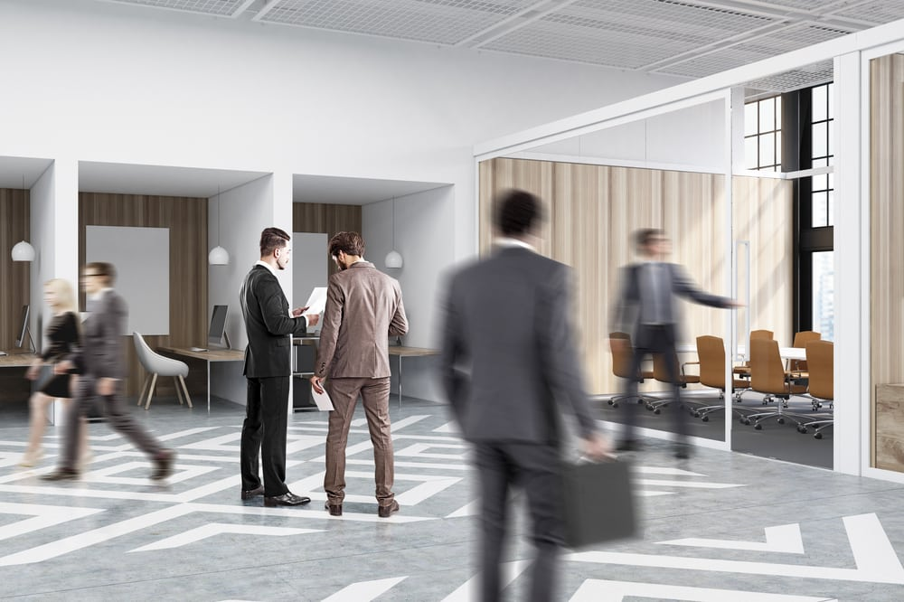 Business professionals in office space