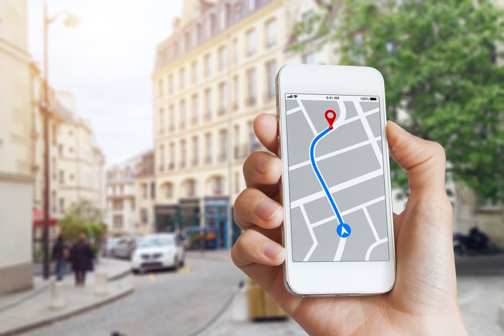 Person using smartphone to search for virtual business address