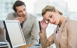 Woman frustrated by annoying coworker