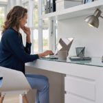 Female business professional working in a home office