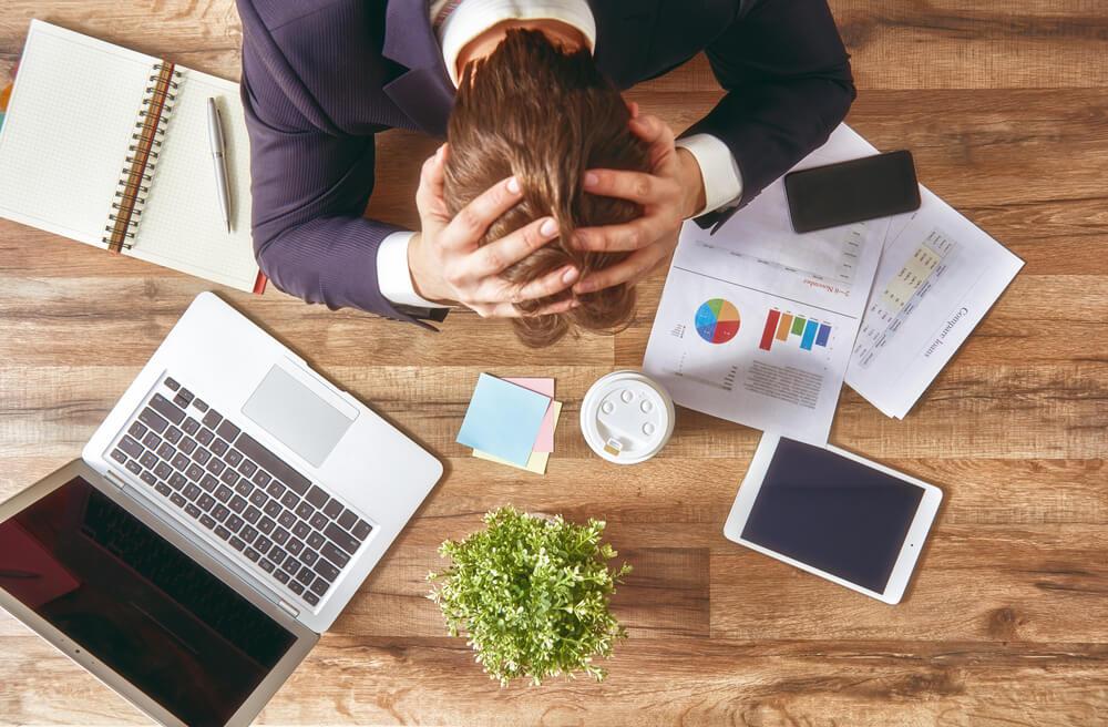 Businessman stressed at work