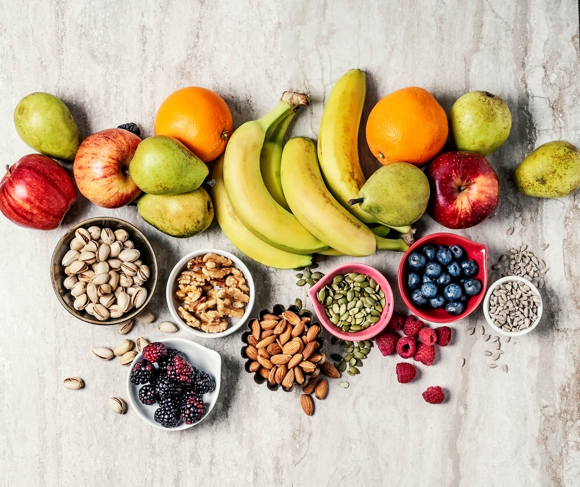Office snack bar with fruits and nuts